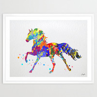 Horse Watercolor illustration Art Print,Wall Art Poster,Nursery/Kids Art Decor Print,Wall Hanging,Wedding,Birthday Gift, #104