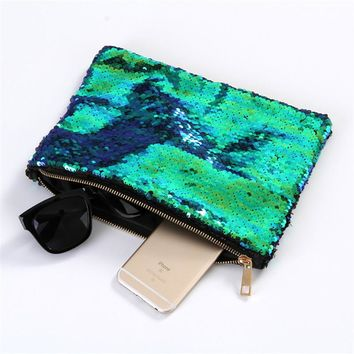 Women Mermaid Sequins Cosmetic Bag Large Capacity Clutch Handbag Evening Clutch Envelope Bag BlingBling Makeup Bag Pouch