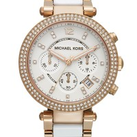 Michael Kors Watch, Women's Chronograph Parker White Acetate and Rose Gold-Tone Stainless Steel Bracelet 39mm MK5774