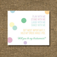 Will You Be My Bridesmaid Funny Bridesmaid by RockCandieDesigns