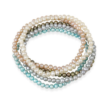 5-5.5mm White Peach Gray Bronze Teal Freshwater Cultured Pearls Stretch Bracelets Set of 5