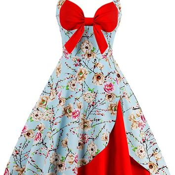 Atomic Red Vintage Inspired Floral Dress