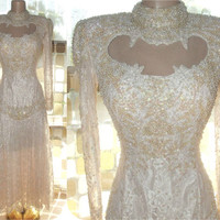 Vintage 80s AMAZING Cutout Beaded Lace Trophy Dress S/M PINK Victorian Wedding