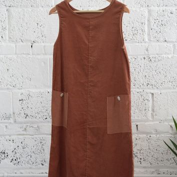 Vintage 1960s Patch-pocket Corduroy Shift Dress