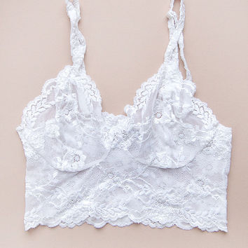 Strappy Bralette in White by Brighton Lace