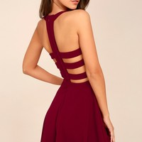 Call Back Wine Red Backless Skater Dress