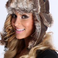 Bronze Faux Fur Trim Aviator Beanie Hat