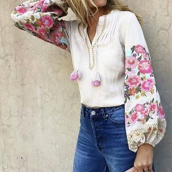 Bohemian Floral Embroidered Fringed Blouse