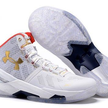 Jacklish Under Armour Curry 2 All-star White Gold Red For Sale