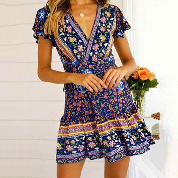 Summer Popular Women Retro Print Short Sleeve V Collar Slim Dress Blue
