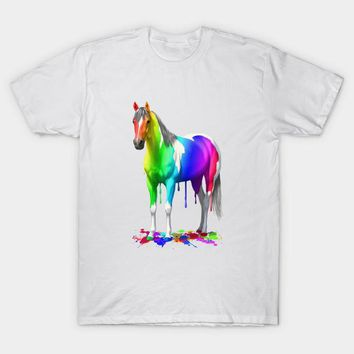 Colorful Rainbow Paint Horse T-Shirt