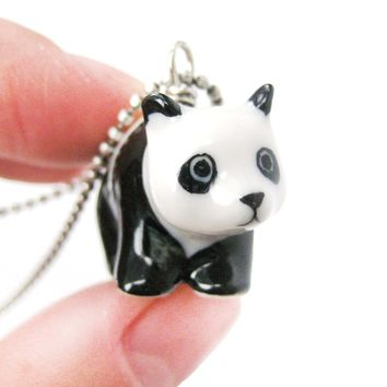 Adorable Baby Panda Bear Porcelain Ceramic Animal Pendant Necklace | Handmade