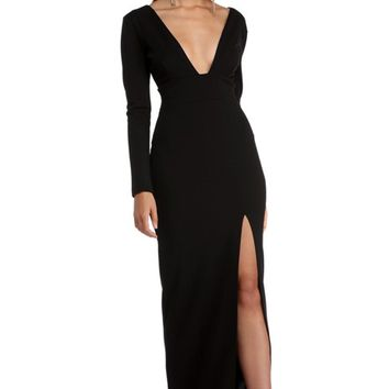 Rory Black Bar Back Crepe Dress