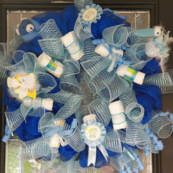 It's a Boy Welcoming Wreath, Hospital Door Hanger, Baby Shower Decoration, Baby Gift