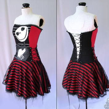 Nightmare Before Christmas striped corset dress - handmade custom size - smarmyclothes