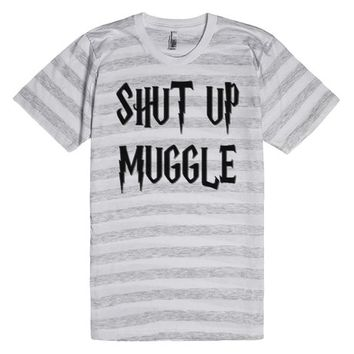 Shut up muggle, Harry P. inspired funny, offensive shirt, 3d lettering effect black