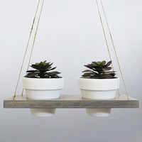 Succulent Planter, Hanging Planter, Terracotta Pot, Air Planter, Hanging Pot, White Planter, Modern Planter, Wood Planter, Succulent Gift