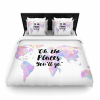 """Kess Original """"The Places You'll Go """" Purple Yellow Woven Duvet Cover"""
