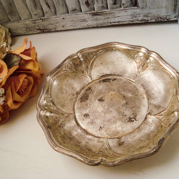Vintage Silver Plate Ornate Serving Bowl, Rustic Shabby Chic Decorative Metal Dish, Wedding Decor, Farmhouse Kitchen, Distressed Ornate Dish