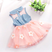 Princess Baby Girl's Kids Denim Sleeveless Tops Tulle Tutu Mini Dress