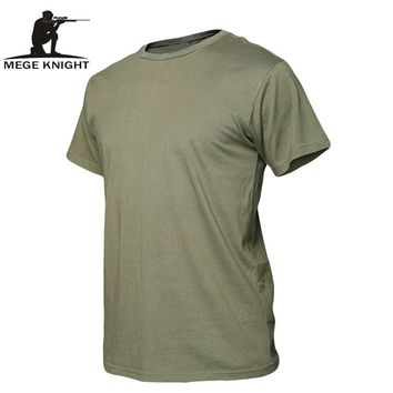 MEGE Summer Cotton T-shirt, Men Military Dry Camo Camp Tees, Camouflage Breathable Tactical  Army Trainning Combat T Shirt