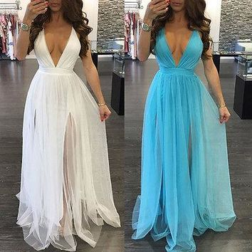"""Beauty"" Deep v split detail sheer maxi evening dress"