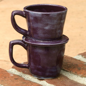 Purple Drip Coffee Mug - hand thrown, stoneware pottery, coffee mug, individual drip cup