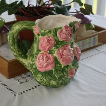 Cottage Chic WBI Pottery Pink Roses Vintage Pitcher Shabby Chic Water Beverage Container Vase Green Pink Large