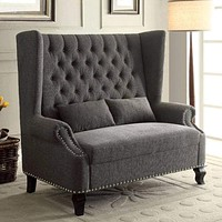 Alcacer Romantic Mid-Century Style Love Seat, Gray By Casagear Home