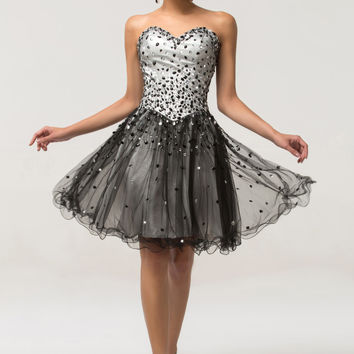 Black Strapless Sequins Beaded Sheer Homecoming Dress