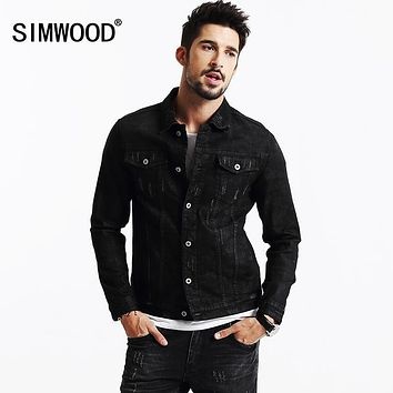 SIMWOOD 2017 New Autumn Winter Black Denim Jacket Jeans Outerwear Fashion Slim fit NJ6522