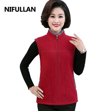NIFULLAN Women'S Stand Collar Vests Waistcoat Female Winter Warm Sleeveless Jacket & Outerwear Thicken Polar Fleece Fabric Tanks