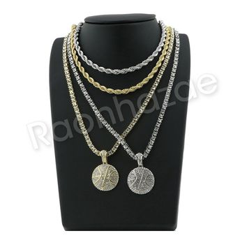 "ICED OUT HIP HOP BASKETBALL PENDANT W/ 24"" ROPE /18"" TENNIS CHAIN NECKLACE SC006"