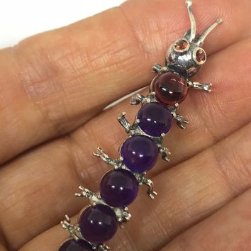 Vintage Handmade Genuine Amethyst and Garnet 925 Sterling Silver Caterpillar Brooch