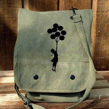 Banksy Balloon Girl on a Hand Painted Military Style Messenger Bag - Ipad
