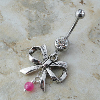 Pink Beaded Silver Bow Belly Button Ring