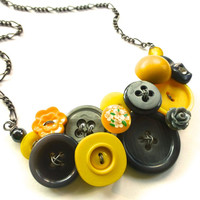 Yellow and Gray Jewelry Bold Button Statement Necklace with Funky Flowers