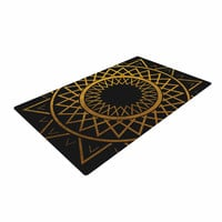 "Matt Eklund ""Gilded Sundial"" Gold Black Woven Area Rug"