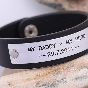 Handmade Leather Bracelet - Hand Stampled Leather Bracelet  -  Mens Leather Bracelet  - Father Day Gift