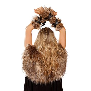 Roma 4893 - Pair of Faux Fur Viking Arm Cuffs with Strap Detail Costume
