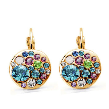 Miss Lady Trendy Gold Plated Crystal Drop Earrings For Women Round Button