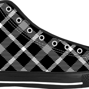 Black and white scottish tartan pattern high tops, retro style buffalo plaid shoes design