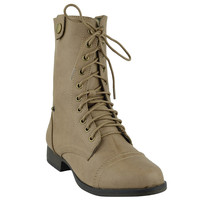Womens Ankle Boots Camouflage Lining Lace Up Combat Shoes Beige