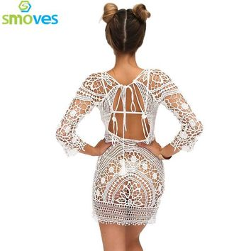 Smoves See Through Hollow Out Embroidery Boho Lace Crochet 3/4 Sleeve Women Floral Mini Dress Sundress Beachwear Beach Day Dress