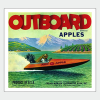 Outboard Apples Vintage Food Poster Print