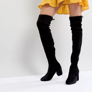 New Look Velvet Over the Knee Block Heeled Boot with Tie Back at asos.com