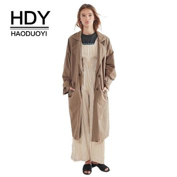 HDY Haoduoyi Blazer Style Trench Coat Belted Long Trench Coats Vintage Draped Turn-down Collar Women Fashion Keep Warm Outwear