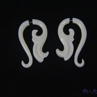 Fake Gauge Ear Weights, Bone Carving Faux Gage Earrings FGB0015