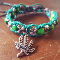 Pot Leaf Jewelry, Cannabis Bracelet, Legalize Marijuana, Hemp Bracelet, Green Wood Beaded Hemp Jewelry, Unisex, Organic, EcoFriendly