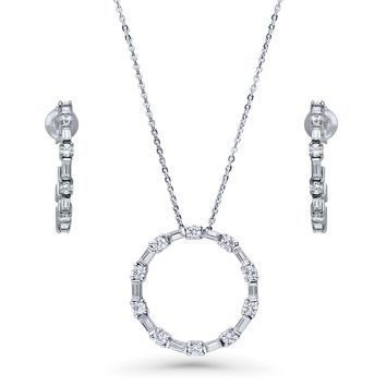 Sterling Silver CZ Open Circle Necklace and Earrings SetBe the first to write a reviewSKU# vs549-01